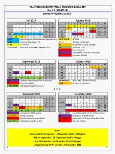 Kalender Akademik Tahun Akademik 2018/2019