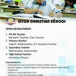 Lowongan Kerja Elyon Christian School 2018.