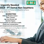 URGENTLY REQUIRED – PT. Damai Nan Sejahtera